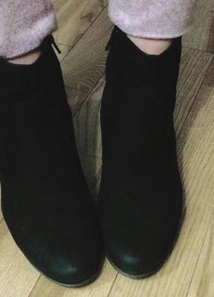 Ботильоны ботинки ecco кожа резиновый необычный каблук