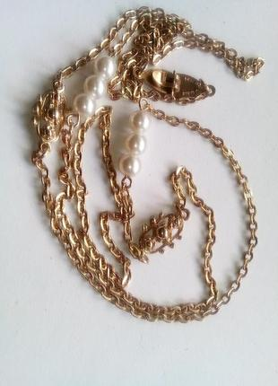 Длинное ожерелье с жемчугом от сара ковентри, sarah coventry