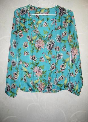 Блуза с райскими птицами today's woman голубая рисунок цветочный принт как шёлковая