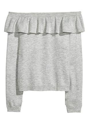 Серый джемпер кофта с оборкой h&m