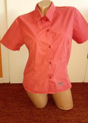 Женская фирменная шведка коралловая, рубашка с коротким рукавом