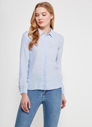 Льняная рубашка в мелкую полоску