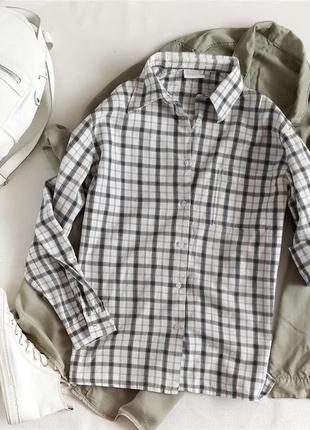 Базовая белая рубашка в клетку 100% хлопок