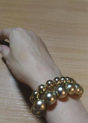 Набор браслетов 2 в 1 золотистого цвета