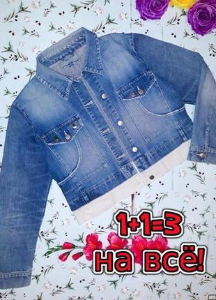 🎁1+1=3 стильная джинсовая куртка со значками кактусами new look, размер 50 - 52