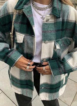 Рубашка плотная в клетку куртка пиджак хит сезона
