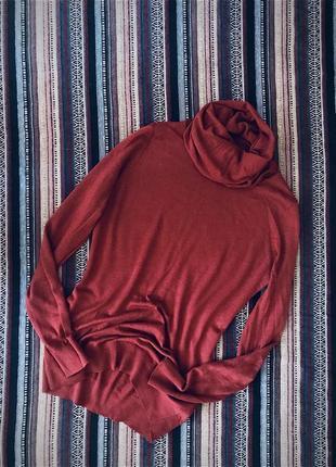 Базовая водолазка гольф свитерок с высоким горлом хомут кирпичного коричневого цвета