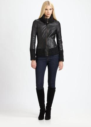 Брендовая черная кожаная куртка на молнии с карманами new look кожа