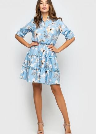 Романтическое платье голубое