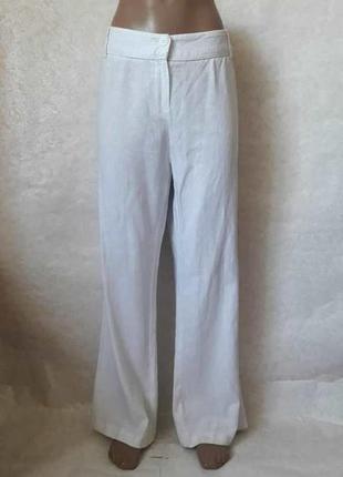 Фирменные marks & spenser белоснежные брюки 56 % лён/44 %вискоза, размер хл