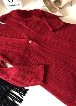 Роскошный винного красного цвета вязаный кардиган накидка на р. xл...👠💄💋