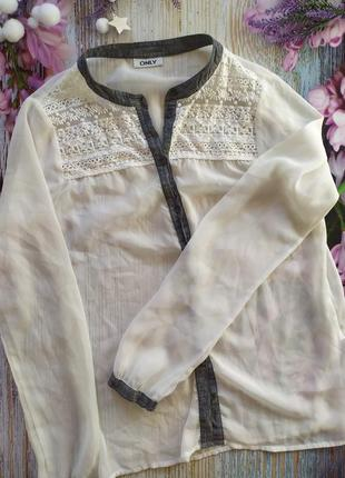 Прозрачная блузка с ажуром красивая only
