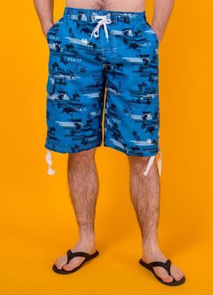 Голубые мужские пляжные бриджи. плащевка. размер m
