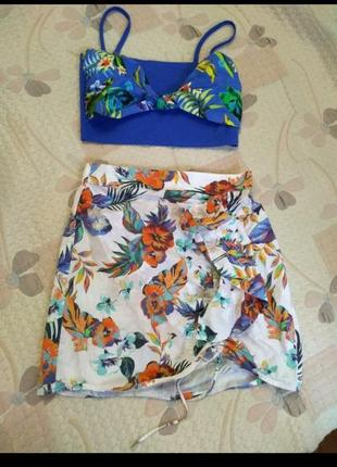 Секси юбка с воланом на запах , mango, р с,м