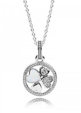 Кулон с цепочкой pandora , сердца любви , серебро
