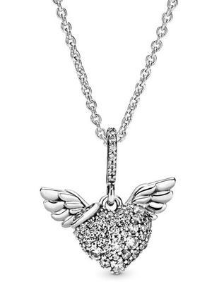 Колье сияющие крылья ангела pandora , пандора кулон серце с крыльями