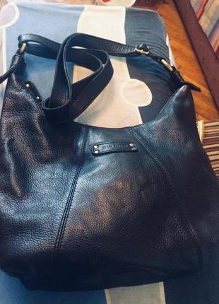 Черная сумка,длинная ручка,натуральная кожа,jean pierre,англия