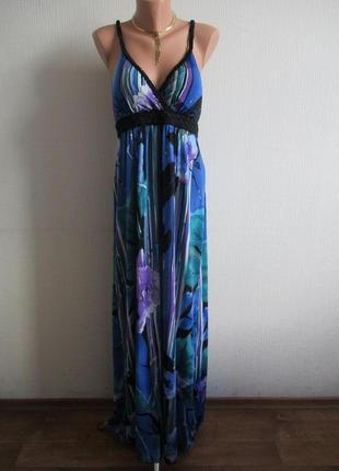 Длинное трикотажное макси платье в пол в цветочный принт quiz