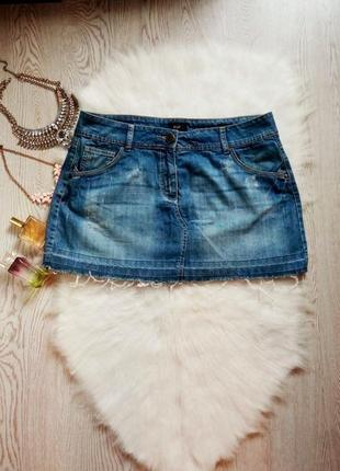 Синяя джинсовая юбка с карманами необработанным низом краем мини батал большой размер
