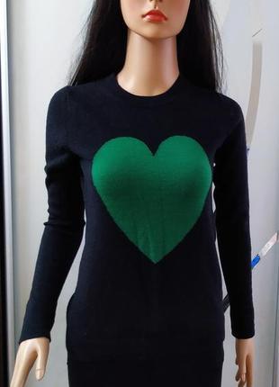 Мериносовый свитер с сердцем, 100% меринос.