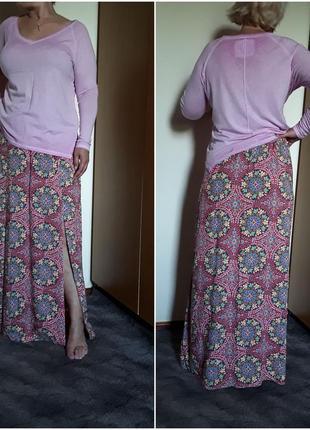 Летняя юбка в пол с разрезами