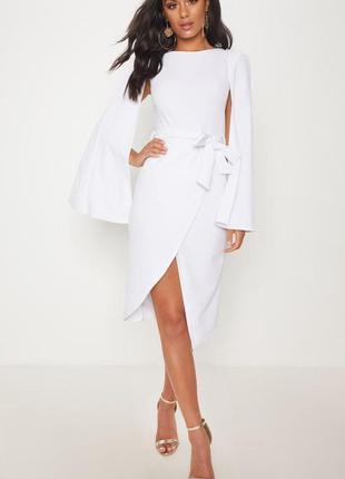 Белое платье миди 🔥prettylittlething🔥 платье белое