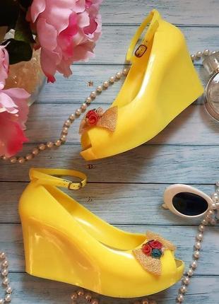 🍋босоножки танкетка plato в стиле ретро, винтаж, желтые, удобные, туфельки🍋
