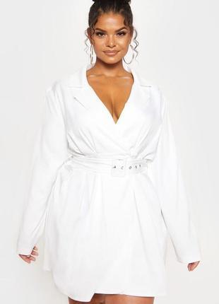Белое платье рубашка 🔥prettylittlething🔥 платье большой размер