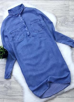 Джинсовое платье рубашка denim new look размер 12 новое с биркой