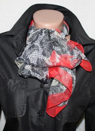 """Лёгкий воздушный шарф платок маки """"кружево"""" италия"""
