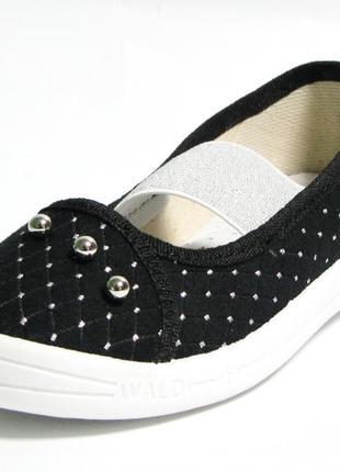 Черные мокасины, текстильные туфли, тапочки для девочки валди. размеры 27-342 фото