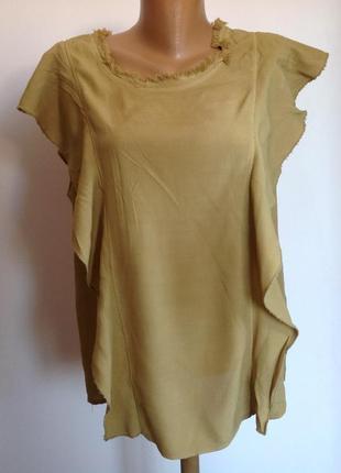 Оригинальная вискозная блузка свободного фасона /s/ brend r jeans