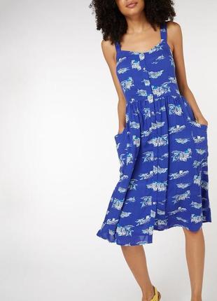 Воздушный хлопковый сарафан /платье миди на пуговицах в принт