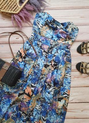 Шикарное летнее коктейльное платье бюстье с косточками без бретелей