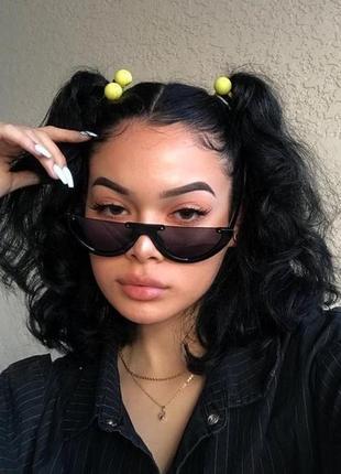 Узкие солнцезащитные черные очки половинки, вузькі сонцезахисні ретро окуляри