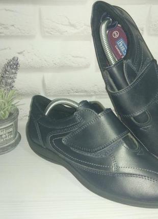 💙кожаные туфли мокасины полуботинки free step р 38