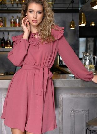 Стильное  платье ткань софт. жатка марсала