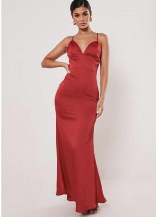 Красное шелковое платье, платье на запах, платье атлас