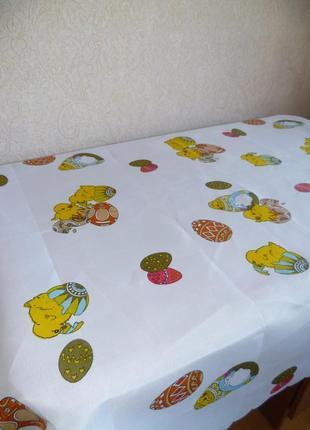 Пасхальная скатерть, с цыплятами, скатерть кухонная, пасхальна скатерть 120х150