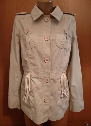 Летняя льняная куртка парка пиджак лён и хлопок пог-51 см