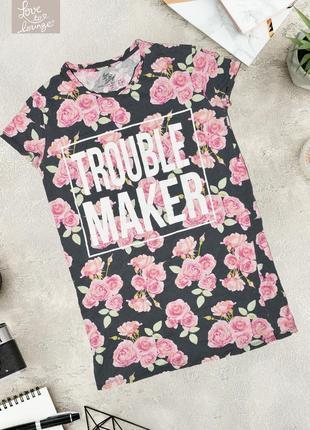 Длинное оверсайз платье футболка в цветочный принт love to lounge