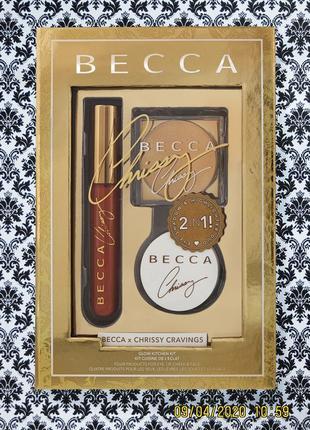 Набор becca glow kitchen kit chrissy teigen cravings : помада , тени , пудра , хайлатер