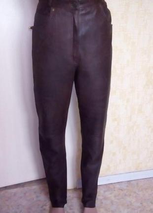 Стильные 100 % кожаные зауженные джины/ кожаные брюки/штаны/скини/легенсы/брюки