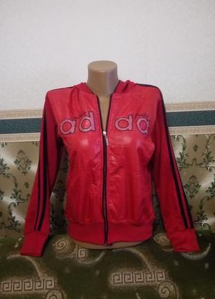 Спортивная женская новая куртка с капюшоном кофта красная
