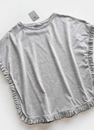 Актуальная летняя футболка с рюшами оверсайз