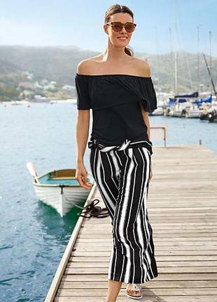 Черно-белые стильные брюки- юбка кюлоты р 38 = 44