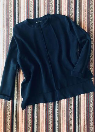 Стильный темно синий свитер кофта свитшот оверсайз большого размера батал