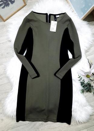 Комбинированное платье хаки с черным h&m