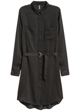 Атласное платье-туника h&m 32-34 уценка (без пояска)