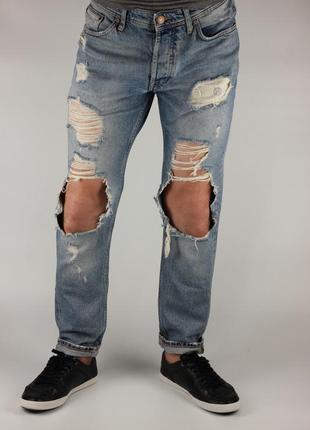 Фирменные зауженные рваные джинсы mills brothers